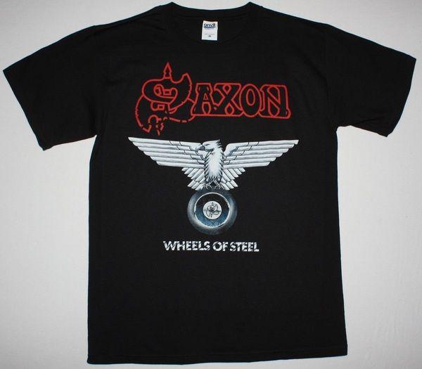 SAXON WHEELS OF STEEL NWOBHM IRON MAIDEN DIAMOND HEAD S-XXL NEW BLACK T-SHIRT