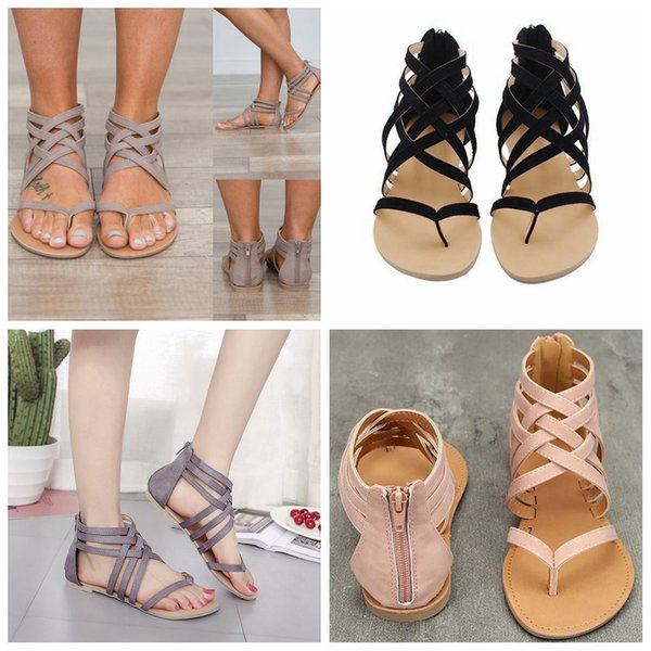 Women Flat Heel Clip Toe sandals Hollow Out Roman Ankle Sandals fashion lady shoes Chunky Heels Beach casual Shoes FFA576