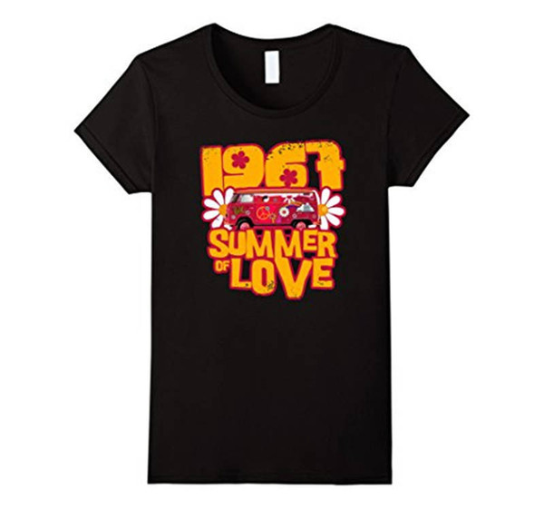 Funky T Shirts Broadcloth Summer Of Love 1967 50Th Crew Neck Short-Sleeve Womens T Shirt