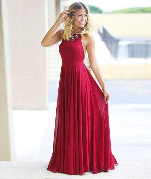 Mulheres Moda Red Halter Backless Comprimento Total Chiffon Bainha Longo Vestido de Noite Vestido de Baile Para A Festa Formal Ocasião Do Partido Personalizado Plus Size N7