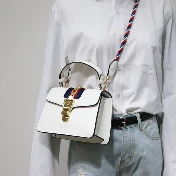 Ulzzang Women Small Messenger Bags Colorful Strap Simple Cross Body PU Leather Mini Shoulder Bag Black Handbags Bolsas Feminina