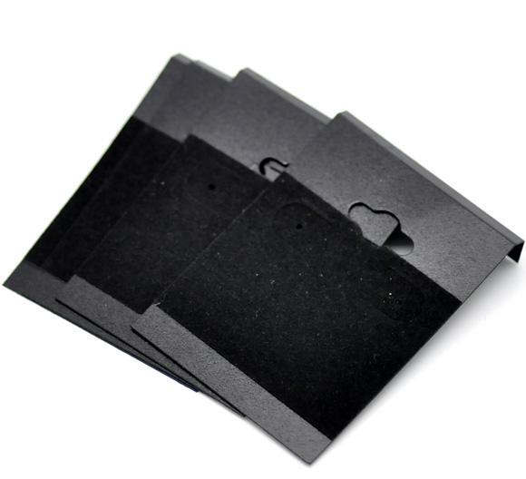 Doreen caixa hot- orelha preta ganchos brinco cartões de exibição de plástico 6.2x4.5cm (2-1 / 2