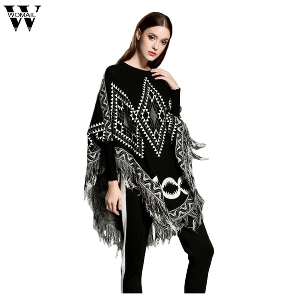 2017 Europe and the United States new style loose cape fringed shawl geometric figure knit sweater girl oct19