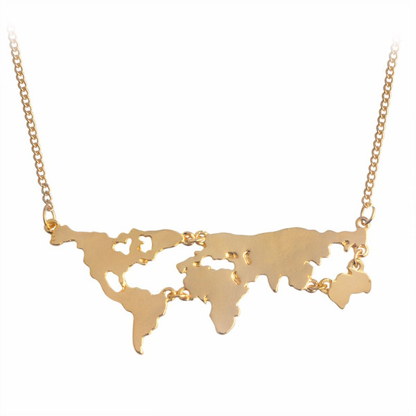 Gold Silver Black Rose Gold 4Color Globe World Map Pendant Necklace Personality Teacher Student Gifts Earth Jewelry Statement Necklace