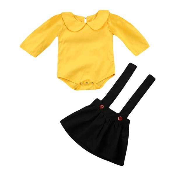 Newborn Baby Girl Clothing Tops Bodysuit Long Sleeve Playsuit Overalls Skirts 2Pc Outfit Set Clothes Baby Girls