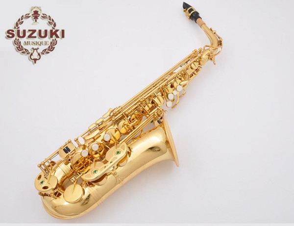 Eb Tune SUZUKI Alto Saxophone High Quality E-flat Tune Professional Music Instrument For Students Gold Plated Sax With Case,Mouthpiece