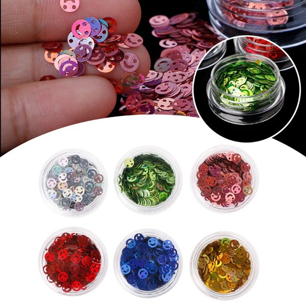 Smile Nail Glitter Sequins Flakes Laser Nails Art Stickers Decor Tips 6 Colors