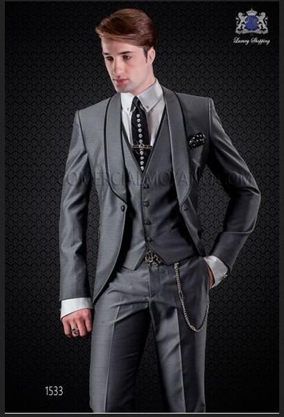 Los últimos diseños de la capa de la chaqueta Italian Smoking Gray Men Suit Slim Fit Skinny 3 piezas de la marca Smoking Custom Prom Blazer Terno Masculino