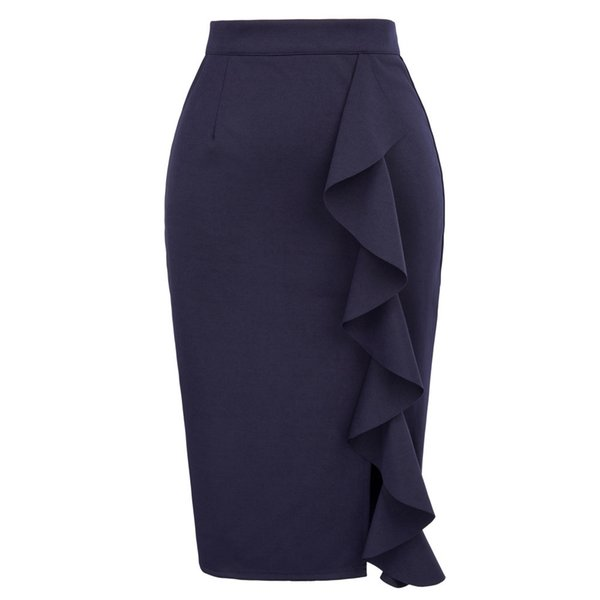 Pencil Skirts Womens 2018 New Sexy Ruffles Skirt Wear to Business Work Office High Waist Casual Bodycon Slim Midi Skirts Summer D1891802
