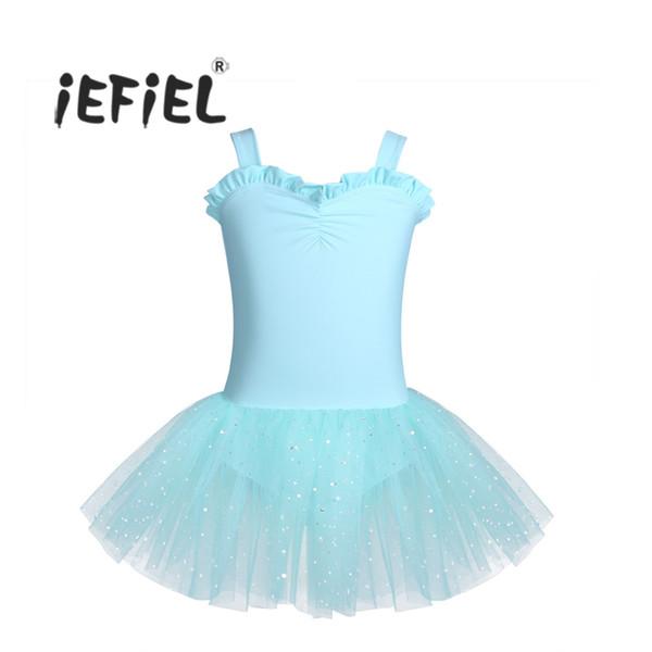iEFiEL Girls Ballet Tutu Dress Sleeveless Ruffled Sweetheart Kids Child Ballet Dancewear Gymnastics Leotard Dance Class Dress