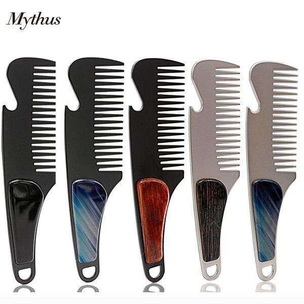 Profesyonel Cep Saç Tarak Paslanmaz Çelik Taşınabilir Erkekler Sakal Tarak Tıraş Bira Açacağı Için Açık Taşınabilir Metal Bıyık Tarak