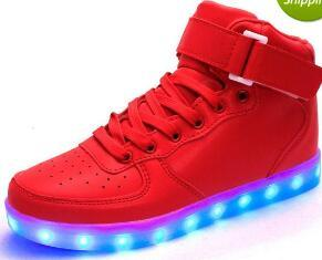 top popular eur 25-43 dance Led dance gold luminous gold red Lights up USB Charging high top Flashing in Sneakers Casual Shoes for Adults and kids ma 2021
