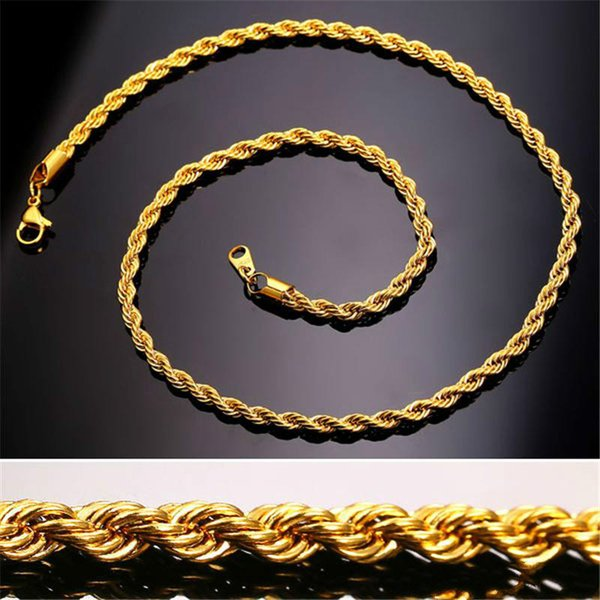 18K Real Gold Plated Stainless Steel Rope Chain Necklace for Men Gold Chains Fashion Jewelry Gift KKA2037