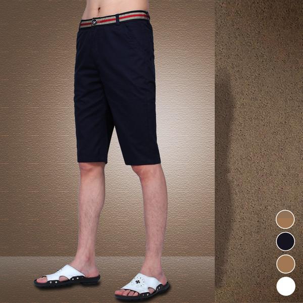 Verão 2018 Moda Cinto Decorado Boutique de Algodão Cor Contraste Homens Lazer  Shorts   Masculino Branco Escuro Ocasional Ocasional Praia Shorts S917 378a78fb73f