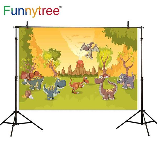wholesale background wallpaper photography dinosaur volcano forest carnivore meadow smoke cartoon funny landscape backdrops