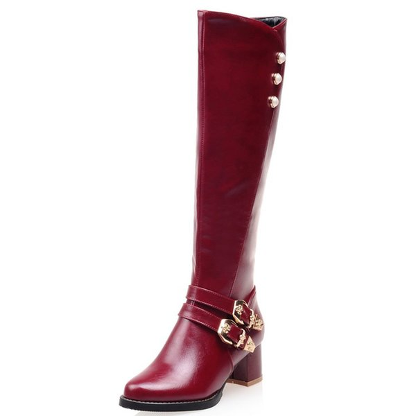 Belt buckle oversized American standard shoes code knight boots code high tube autumn and winter plus velvet women's boots