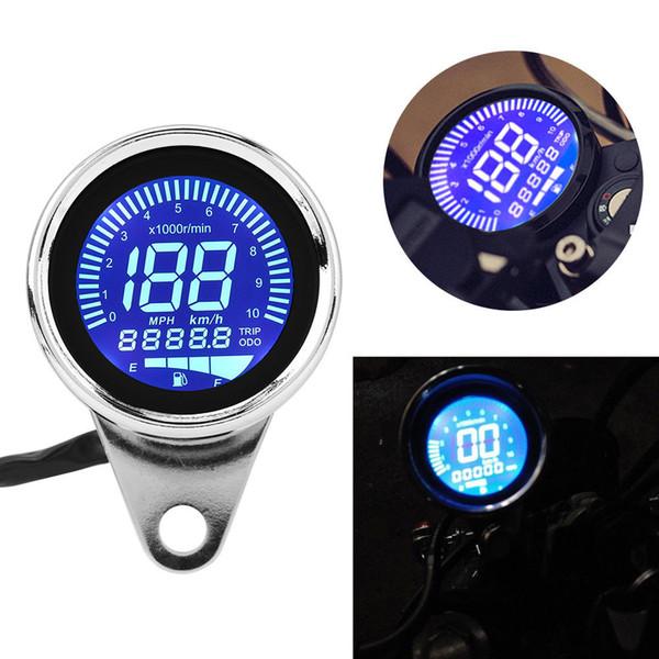 Yeni Motosiklet Retro Çok Fonksiyonlu Dijital LED LCD Kilometre Sayacı Kilometre Takometre Yakıt Göstergesi Cafe Racer Scooter Için Offroad