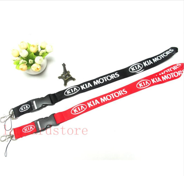 Men's Black & Red KIA Car Logo Key Lanyard ID Badge Holders Car Mobile Phone Neck Straps for Kia