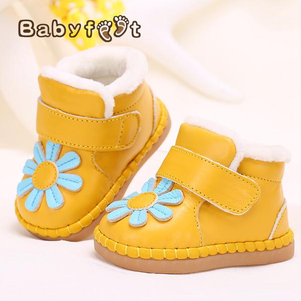 Babyschuhe New Born Winter Echtes Leder Schuhe Weiche Kleinkind Prewalkers Mädchen Plüsch Innen Baumwolle - Neue Baby Jungen Schuhe