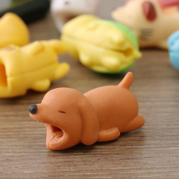 Perakende Kablo Bite Koruyucu Chompers Hayvan Sevimli Sarıcı Kaplan Kablo Köpek Şekli Kulaklık Aksesuarları ve Parçaları Damla nakliye