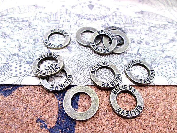 90 pezzi - 21 mm bronzo antico credono pendenti con ciondoli a cerchio