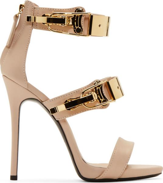 Sommer Stil Frauen Pumpt Sexy Elegante High Heels Sandalen Mit Gold Mental Lock Fashion Party Kleid Schuhe Nacht Clubwear Sexy Sandalen