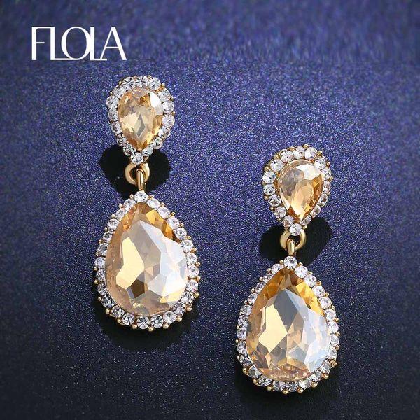 1f5724470 FLOLA Gold Crystal Drop Earrings for Wedding Teardrop Gold Dangle Earrings  for Women Party Wedding Bridal