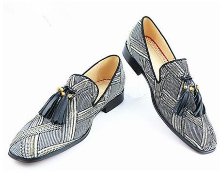 Son Tasarımcı Erkekler Kenevir Püsküller ile Düşük topuklu Loafer'lar Nefes El Yapımı Parti Elbise Şerit Ayakkabı Adam