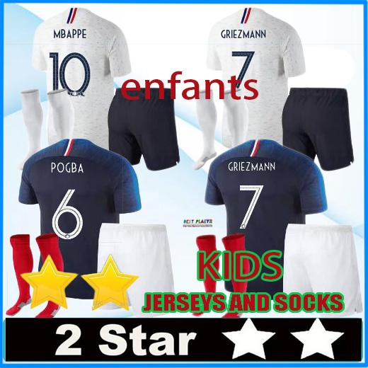 aaa 2 stars MBAPPE soccer Jersey 2018 World Cup child football shirts national team pogba GRIEZMANN KANTE kids kit maillot de foot