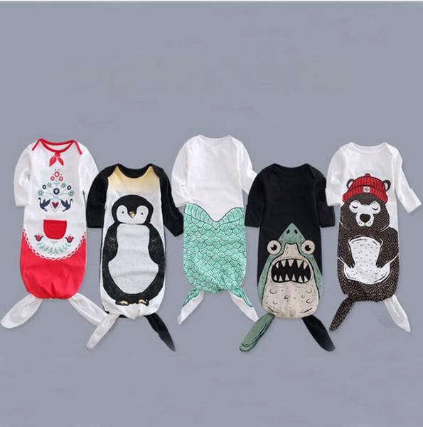 Mermaid Shark Sleeping Bags Baby Long Sleeve Clothing Ins Newborn Winter Cotton Pajamas Infant Cartoon Animal Print Wraps Sleep Sacks YL790