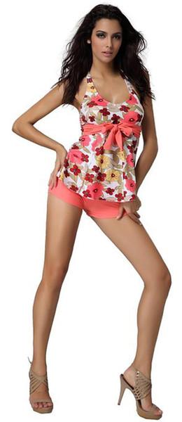 Cotton Two Pieces Swimsuit Women Swimwear Push Up Tankinis Set Floral Parttern Summer Ladies Swimwear Plus Size M-2XL