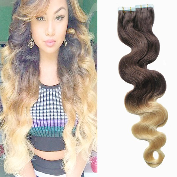 Tape Hair Extensions Ombre 40pcs T4/ 613 Human Body Wave Ombre Human Hair Machine Made Tape Adhesive Skin Weft Seamless Hair