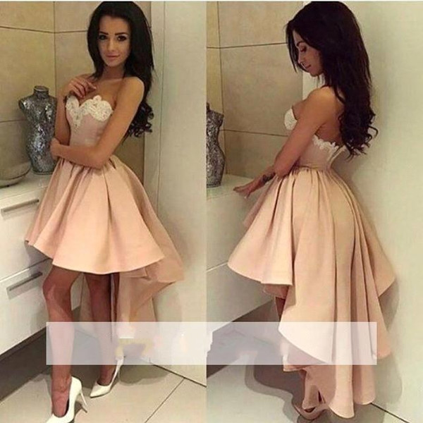 2018 Elegant Sweetheart Satin High Low Homecoming Dresses Lace Applique A Line Short Party Prom Evening Dresses BA6125