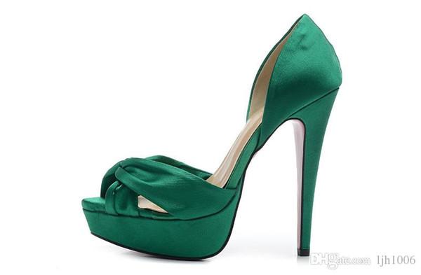 Hot Fashion 34-42 frauen 14 cm High Heels Grün Spindel Tuch Sexy Rote Unterseite Sommer Sandalen, Damen Luxus Marke Hochzeit Partykleid