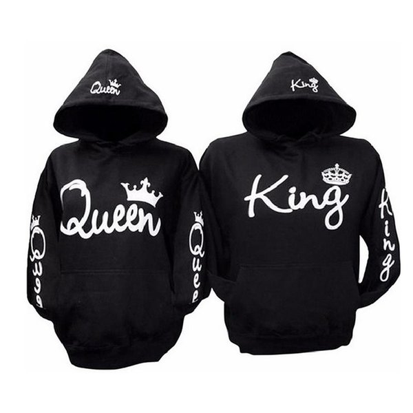 Plus Zize 3XL King Queen Letter Sweatshirt Fashion Women Men Black Hoodies Casual Lovers Couples Hooded Pullovers Tracksuits