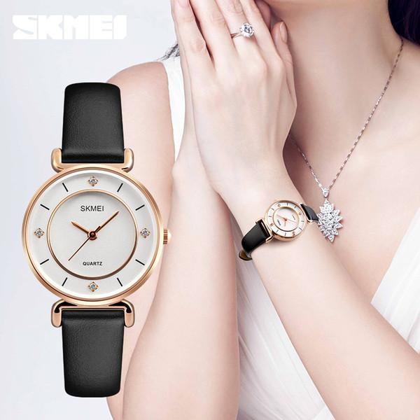 SKMEI 1330 женская мода часы водонепроницаемый повседневная Dress девушки наручные часы Кожаный ремешок дамы кварцевые часы