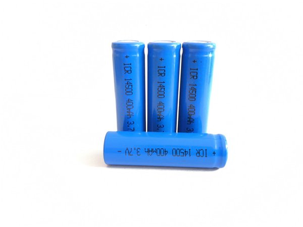 High quality 14500 lithium battery actual capacity 400mah 3.7v flat head blue manufacturer direct sale