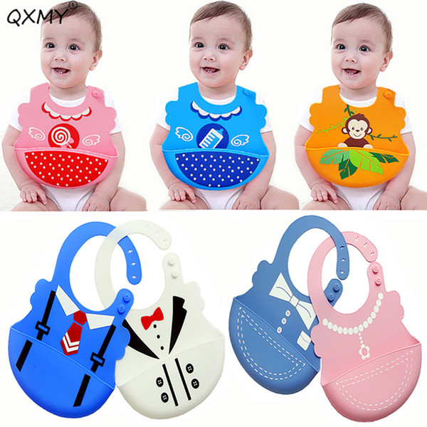 new baby silicone bibs plastic soft waterproof bibs for toddler children newborn silicone cycling