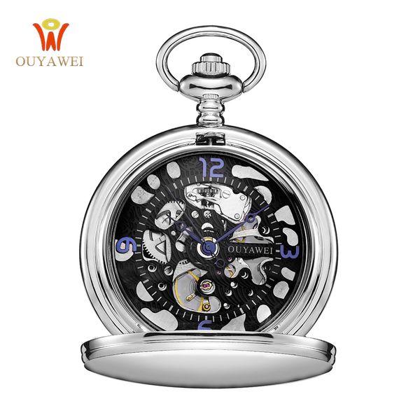 OUYAWEI Mode Noir Steampunk Squelette Fob Montres pour Hommes Chaîne Mâle Horloge Main Vent Emblème Antique Montre De Poche Mécanique