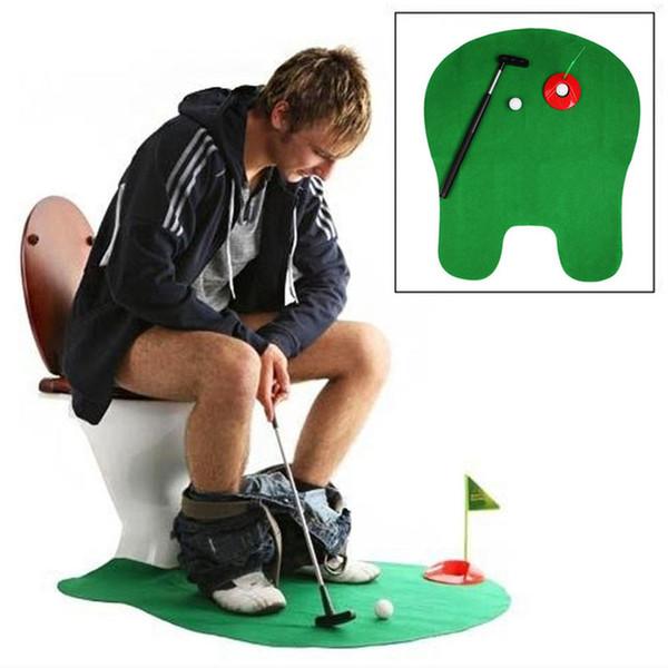 Giochi all'aperto Divertente vasino Putter WC Golf Game Toilet Time Mini Golf Set Verde Novità Gag Toy Mat regalo per le donne degli uomini Spedizione gratuita