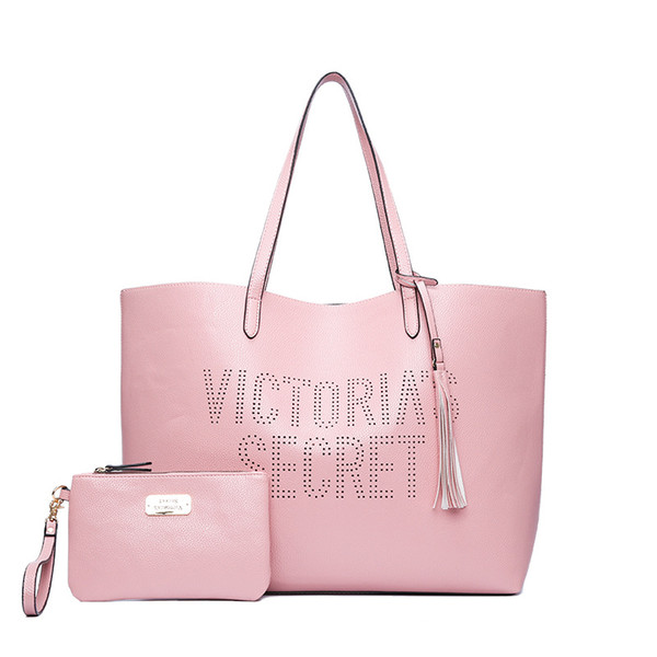 2 teile / satz vs liebe rosa mädchen tasche reisetasche reisetaschen frauen schulter handtaschen strand große geheimen kapazität einkaufstaschen