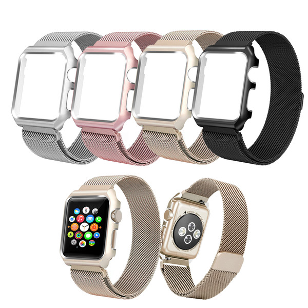 10pcs/lot Apple Watch Band 38mm 40mm 42mm 44mm,Milanese Loop Stainless Steel Magnetic Band with Metal Case for Apple Watch Series 1/2/3/4/5