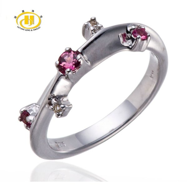 Hutang Pink Tourmaline & White Topaz Gemstone Solid 925 Sterling Silver Band Ring Beautiful Design Fine Jewelry