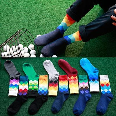 best selling 24pcs=12pairs 12 designer High Quality Brand Happy socks British Style Plaid Socks Gradient Color mens Fashion Personality Cotton Socks