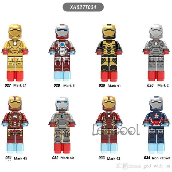 Mark 10pcs XH027-034 Marvel Avengers Iron Man Armor collectable figure Stark War Machine Patriot building blocks bricks toys for children