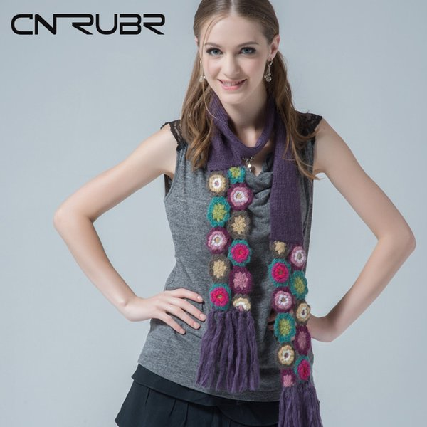 CN-RUBR Pure Cotton Embroidered Long Scarves Simple Design Casual Fringed Handmade Scarf Ladies Knitted Pattern Flower Shawls