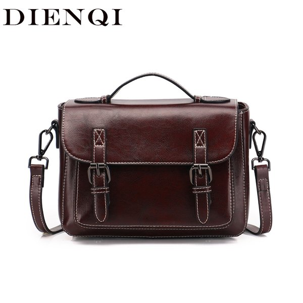 DIENQI Vintage Satchels Genuine Leather Messenger Bags Women Leather Handbags Ladies Small Crossbody Bags for Women sac a main