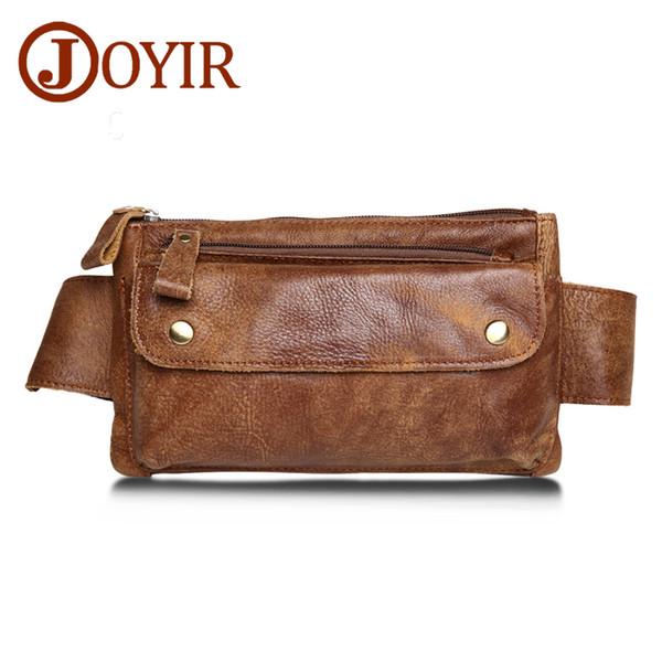Joyir Genuine Leather Men Waist Packs Travel Chest Bag Unisex Belt Bags Men Money Belt Waist Bags Bum Bag Fanny Pack For Women8136