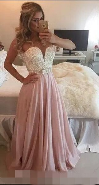 Prom Dresses Sweetheart Sleeveless White Pink A Line Appliques Lace Chiffon Skirt With Pearl Beaded Formal Evening Prom Party Dresses