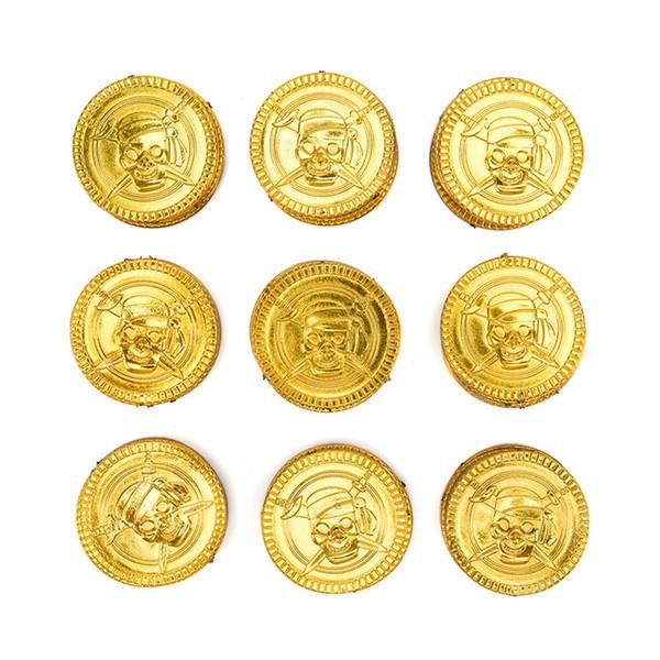 100Pcs Plastic Gold Treasure Coins new Party Coins Captain Pirate Party Favors Pretend Treasure Chest Kids Supplies